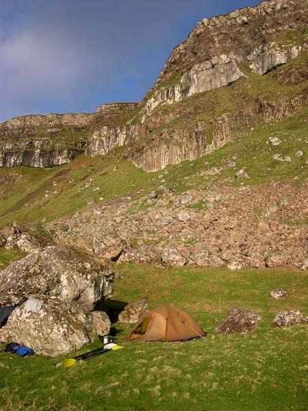 Camp below the cliffs of East Eigg