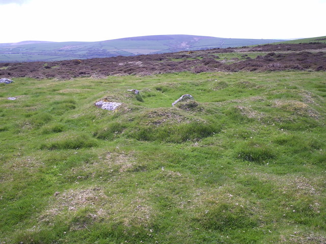 Prehistoric hut circles on the flank of Mynydd Melyn