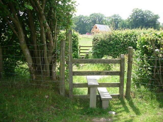 Offa's Dyke path crosses a minor road at Pen Offa