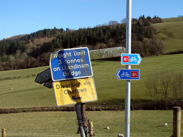Signs near Caersws