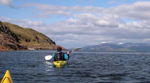 Kayaking past Rubha na Earba