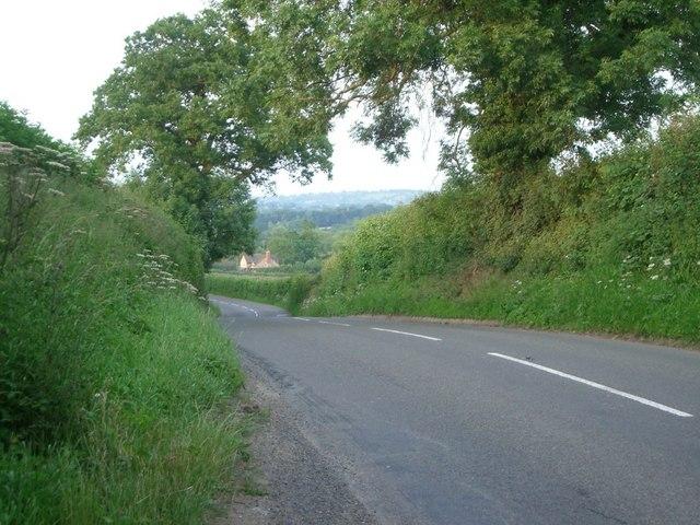 The B4368 approaching Munslow