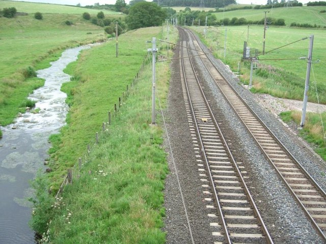 Looking North from bridge at Thrimby