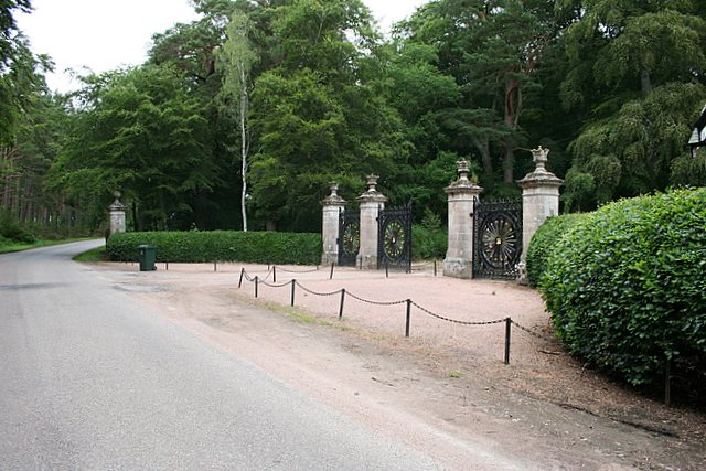 Exquisite wrought iron gates of a Darnaway gatehouse.