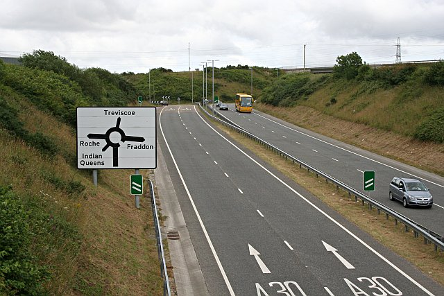 The A39 about to join the A30