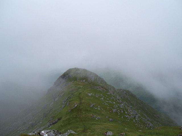 looking down the rocky south ridge of Sgurr nan Coireachan