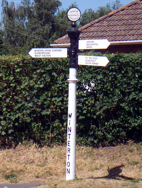 Old Lindsey County Council Signpost in Winterton