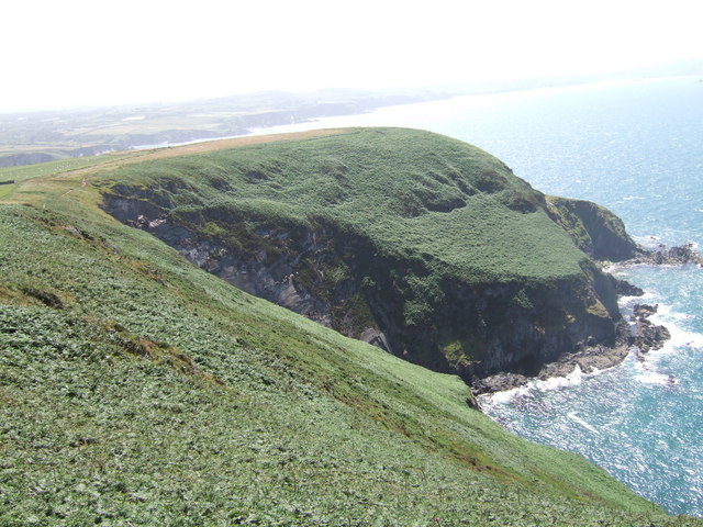 The sea-eroded cliffs of Dinas Island