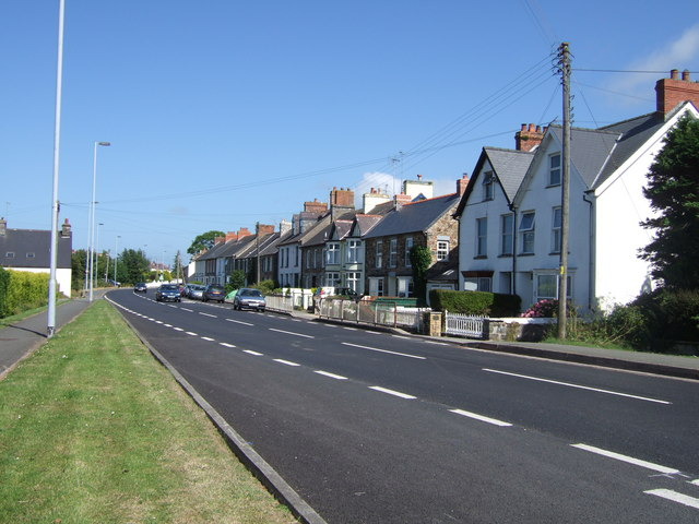 Houses along the A487 in the village of Dinas Cross