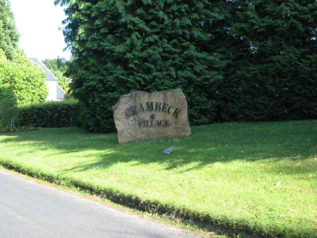Engraved village name stone for Crambeck Village