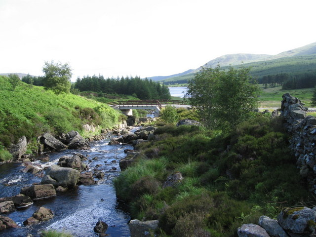 Gala Lane near the bridge at the head of Loch Doon