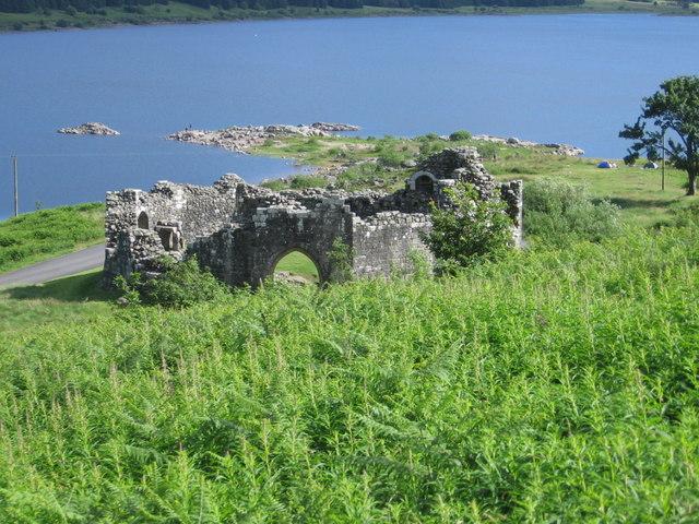 The reerected Loch Doon castle
