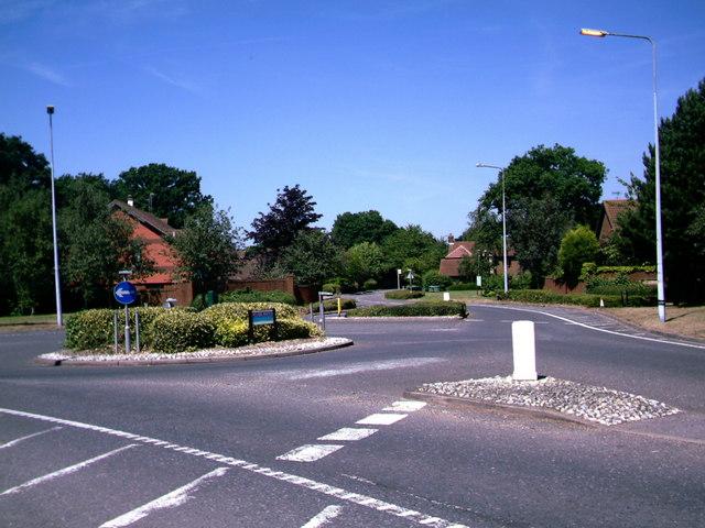 Roundabout at Langshott Housing Estate, Horley.