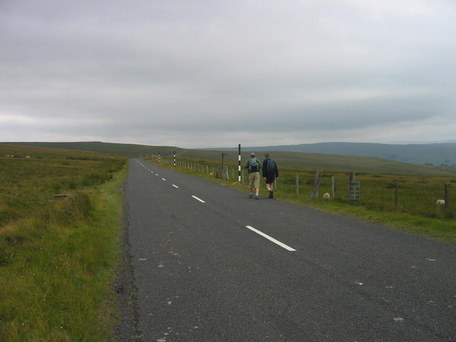 Road near footpath sign on Dryburn Moor
