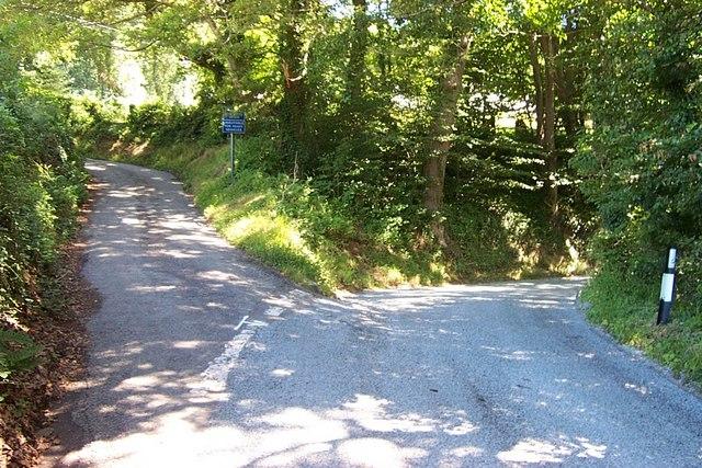 Road junction near Melin Maenan
