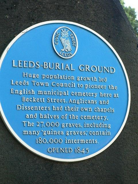 Blue plaque, Beckett Street Cemetery, Leeds