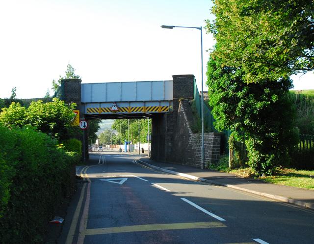Railway Bridge over Dwr-y-Felin Road.