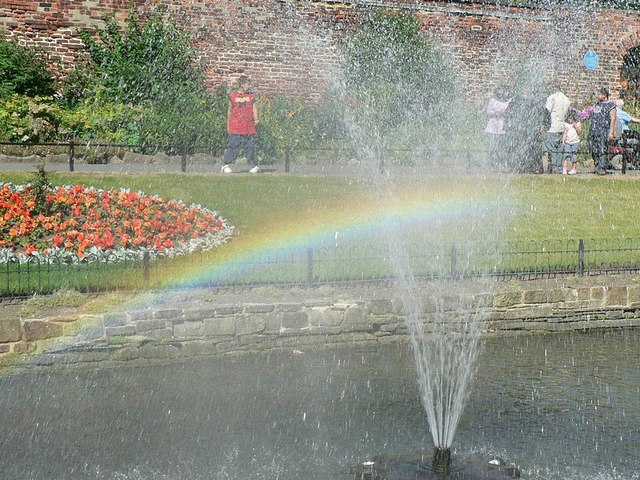 Rainbow in the Fountain, Canal Gardens, Roundhay, Leeds