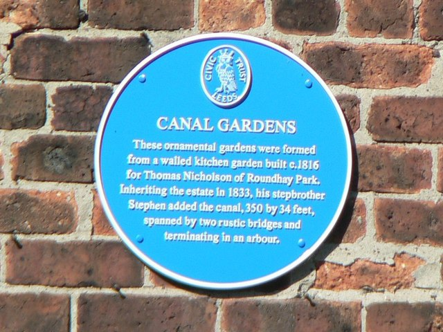 Blue Plaque, Canal Gardens, Roundhay