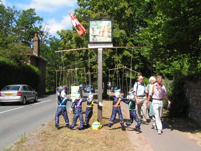 Thunderbirds on the village sign.