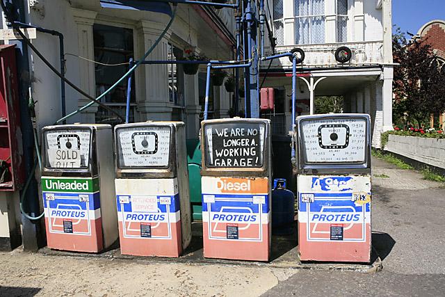 Disused petrol station on north side of High Street, Stockbridge