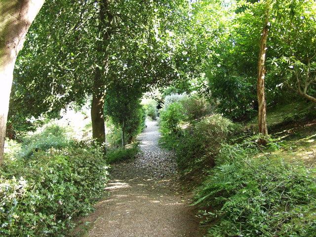 Public footpath through a landscaped garden