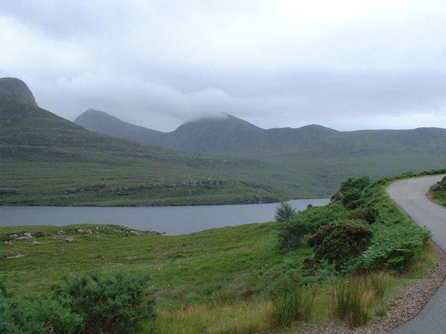 Shore of Loch Lurgainn and road to Achiltibuie