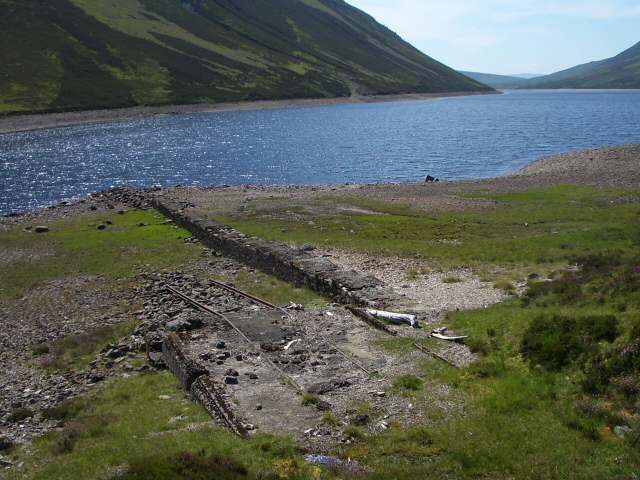 Rails descending into Loch Garry