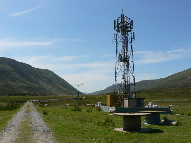Mobile phone mast at Dalnaspidal