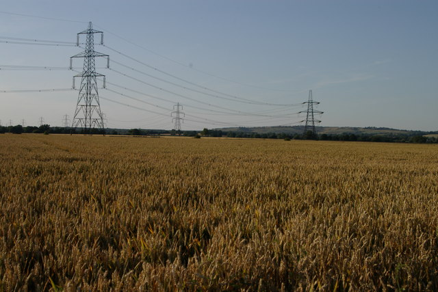 Electricity Pylons on the disused Oakley Airfield