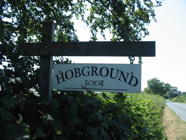 Sign to Hobground located at the end of the drive