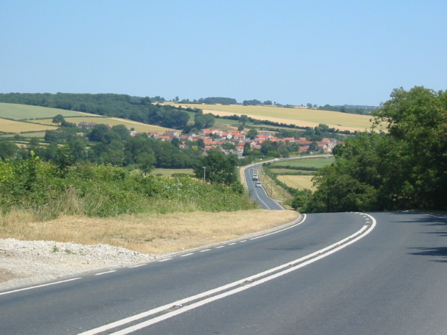 The A170 looking towards Wrelton