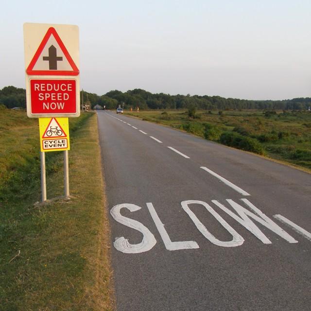 Warnings on the Beaulieu Road, Ipley Cross, New Forest