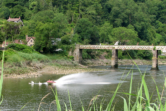 Old Railway Bridge at Tintern with Speed Boat