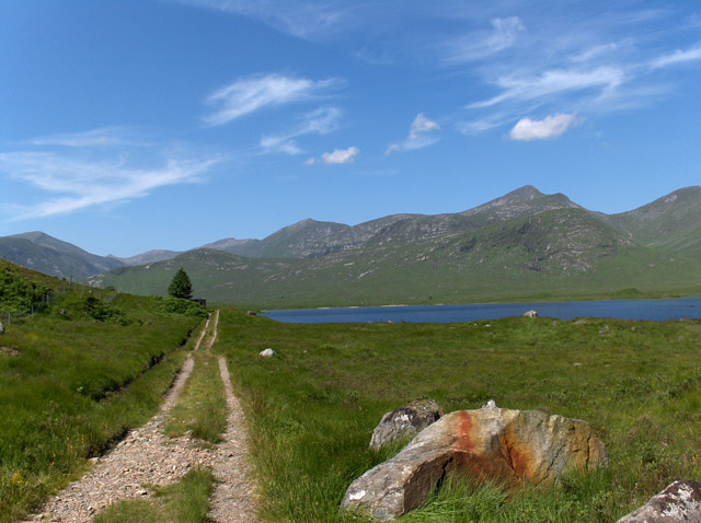 Track and colourful stone, Loch Dochard