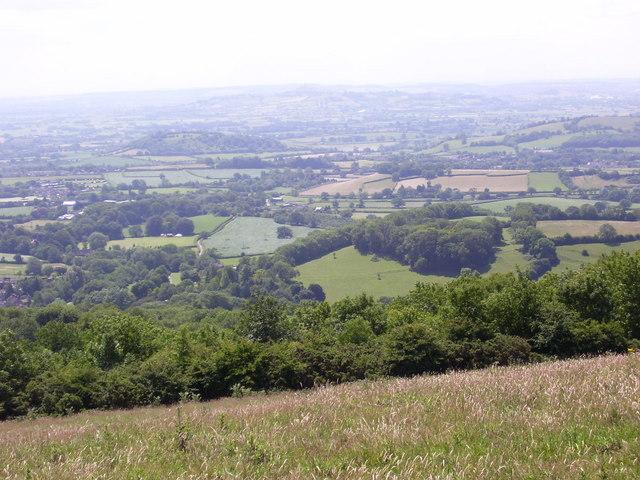 View over the escarpment to Glastonbury Tor