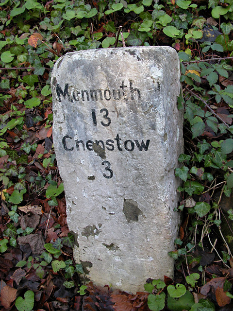 Milestone - 3 Miles to Chepstow on the A466 (close-up)