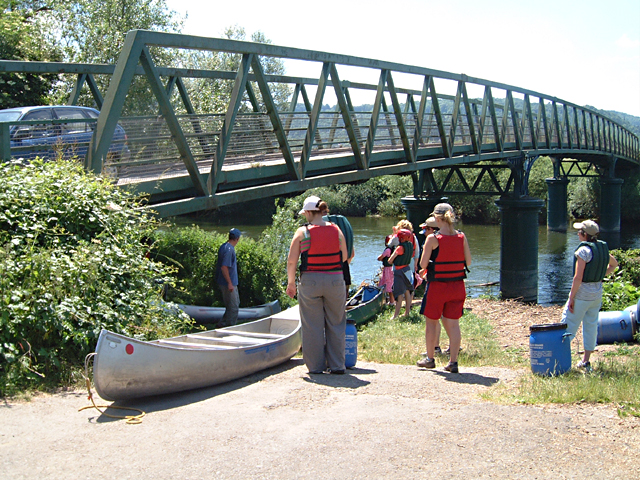 Launching Canoes at Huntsham Bridge