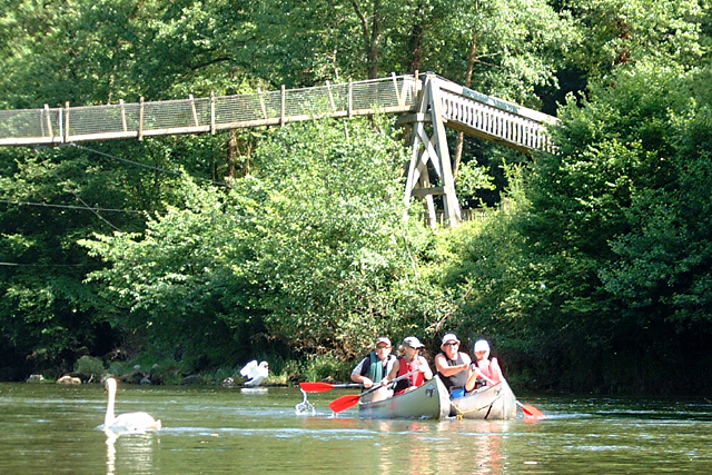 Paddling past Biblins Bridge on the River Wye