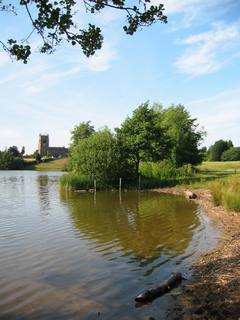 Big Mere and church at Marbury