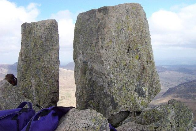 Adam and Eve stones on Tryfan summit