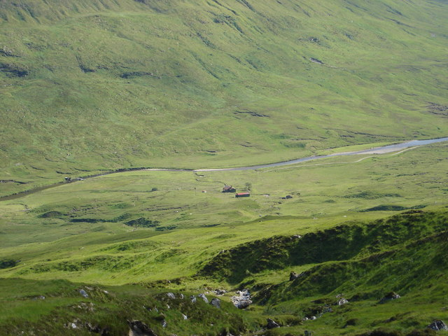 View of Alltbeithe  Youth Hostel from high on stalkers path to north