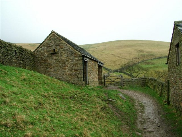 Barns on hills above Ladybower Reservoir
