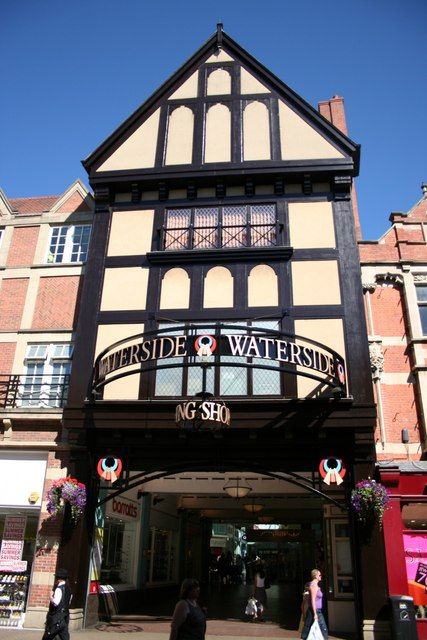 A mock-Tudor entrance to the modern Waterside shopping mall on High Street