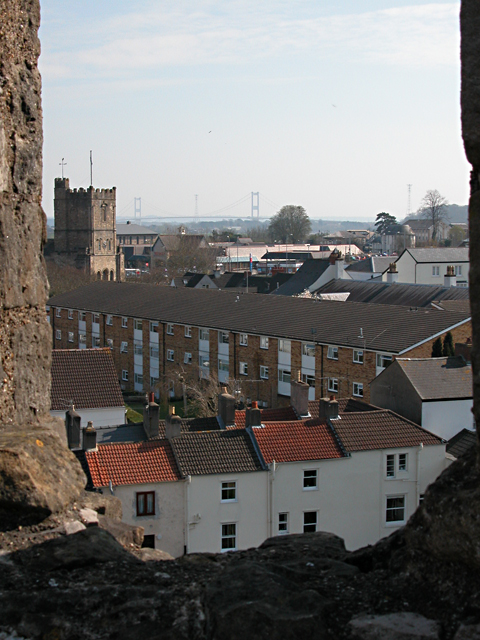 Chepstow St Mary's Church Tower from the Castle