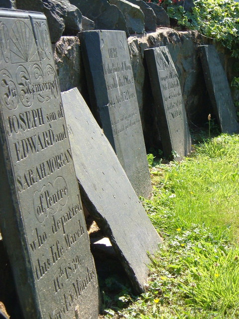 Inscriptions on tombstones in Llanfechain churchyard