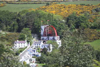 Laxey Wheel viewed from the mountain railway