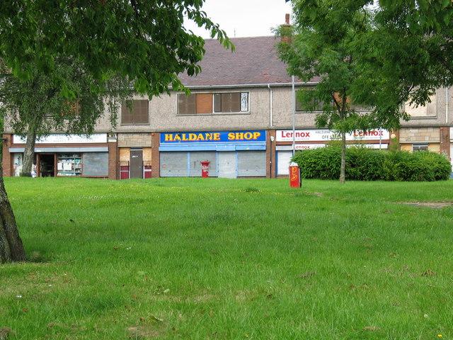 Housing scheme shops Mill of Haldane.