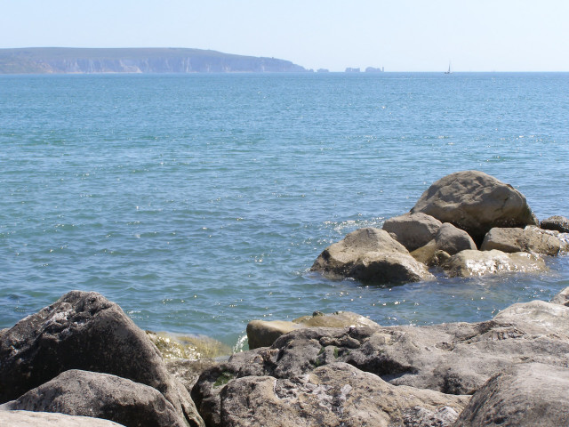 The Solent and Needles from Milford-on-sea beach