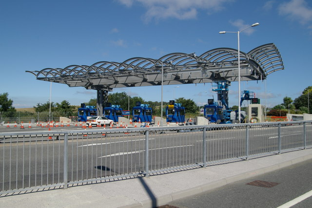 Tamar Bridge toll booths and canopy